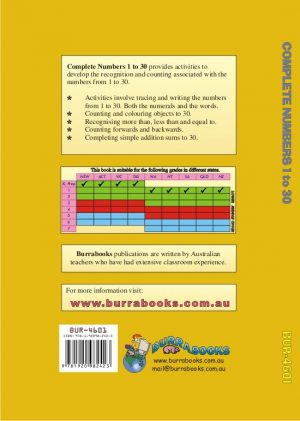 Complete Numbers 1 to 30 Cover Back