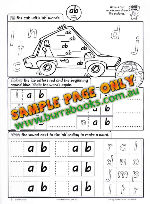starting word families workbook downloadable
